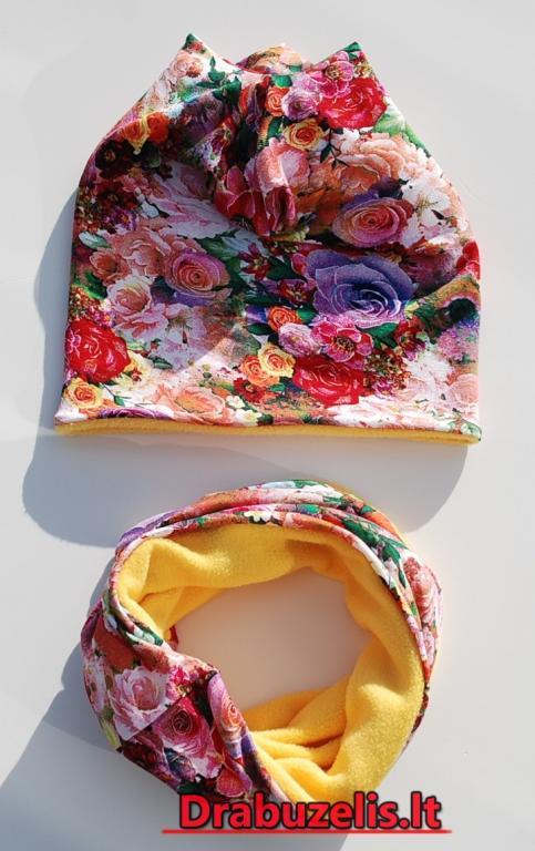 """Vaikiška šilta kepurė su mova, mergaitei """"gėlės žiema"""" 565"""
