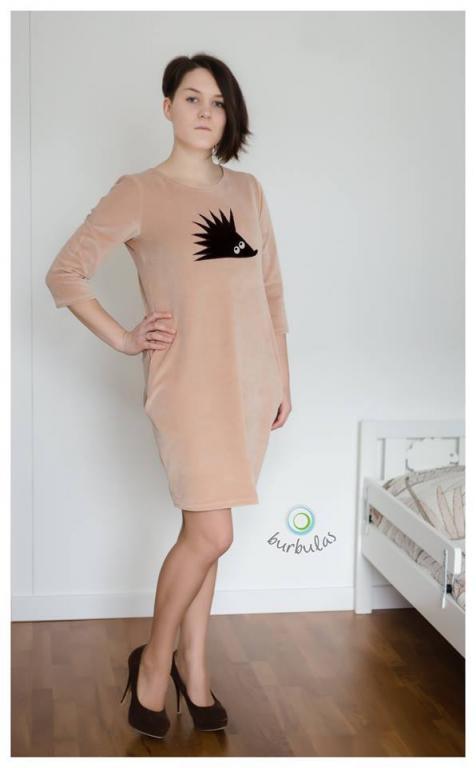 Kreminė suknelė su ežiuku