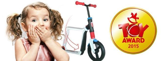 Paspirtukas ir balansinis dviratukas viename