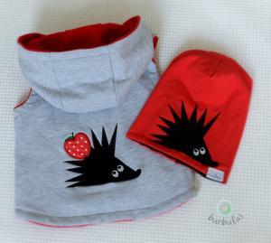 Liemenė ir kepurė su ežiuko aplikacija