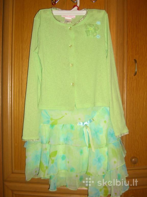 Šventinė, puošni, graži suknelė-kostiumėlis (2-jų dalių, sijonas+bliuzelė) 7-8 metų mergaite