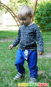 Mėlynos harem tipo sportinės kelnės