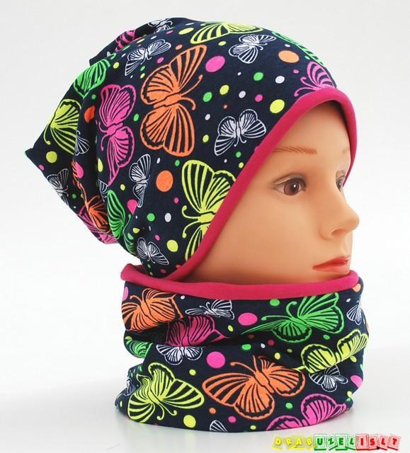 """Kepurė + kaklo mova mergaitei """"margi drugeliai"""", 416"""