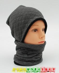 """Šilta kepurė su mova rudeniui-žiemai """"pilki langeliai"""", 775"""