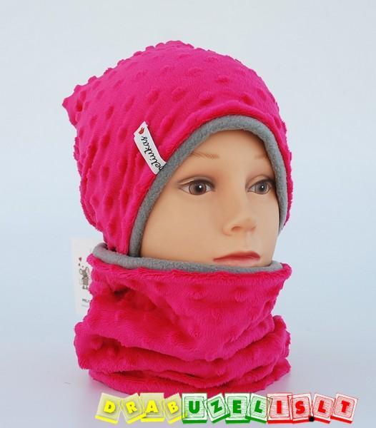 """Šilta žieminė kepurė su mova """"pink burbuliukai"""", 445"""
