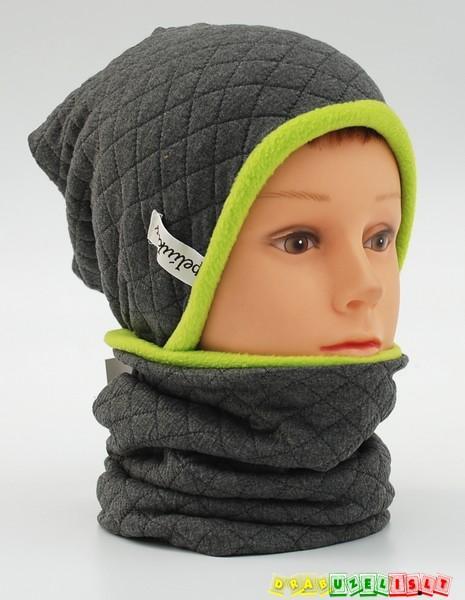 """Šilta kepurė su mova rudeniui-žiemai """"pilkai žali langeliai"""", 797"""