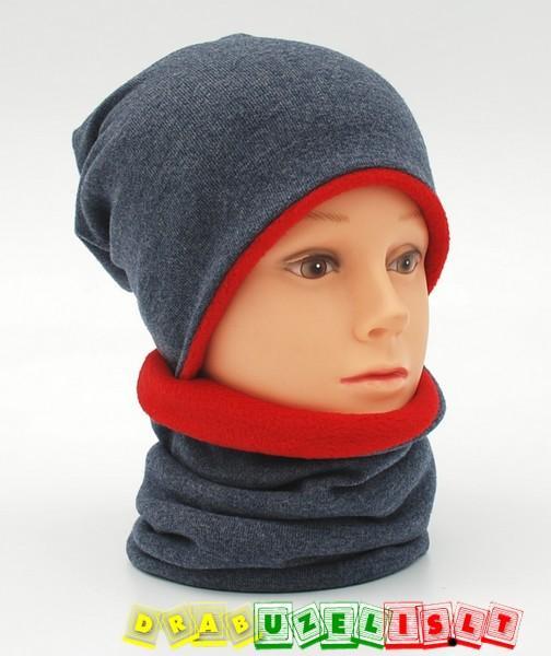 """Šilta kepurė su mova vaikui rudeniui-žiemai """"pilkai raudona"""", 7741"""