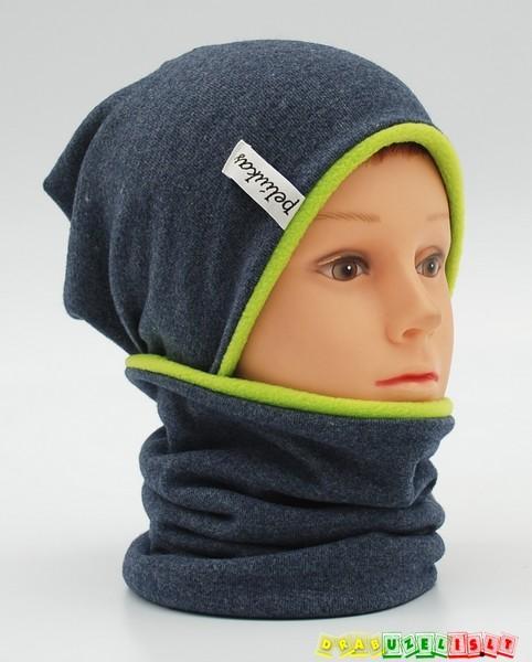 """Šilta kepurė vaikams su mova """"pilkai žalia"""", 796"""