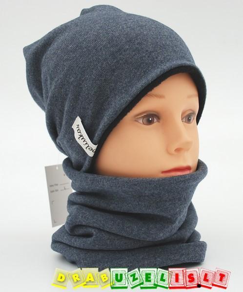 """Šilta kepurė vaikams su mova """"pilkai juoda"""", 768"""