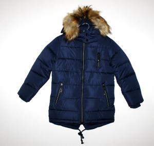 Šilta, ilga žieminė striukė berniukui su kailiu