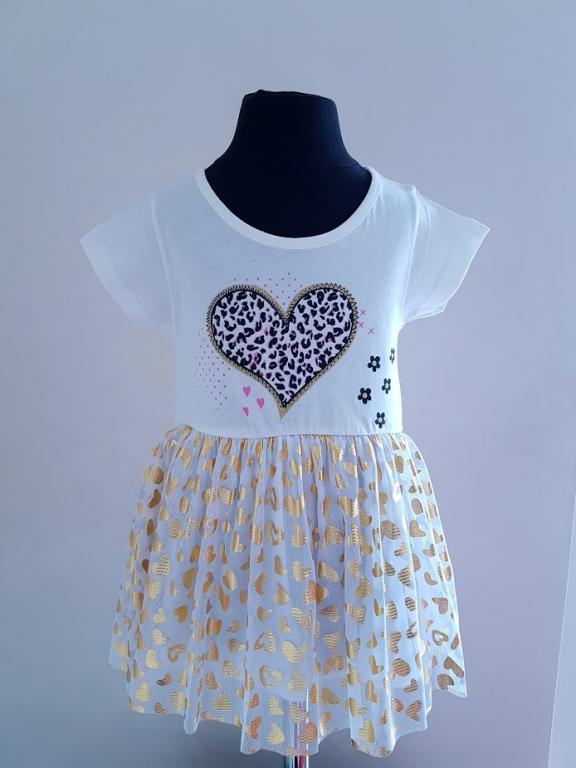 Balta suknelė tunika su širdelėmis