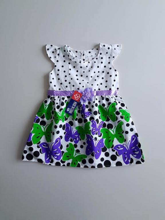 Vasariška suknelė su violetiniais drugeliais