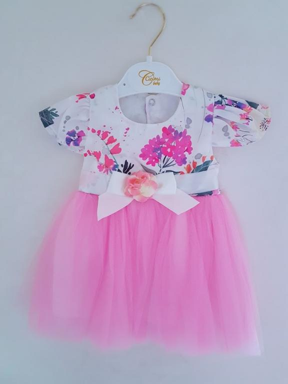 Gėlėta švelniai rožinė suknelė
