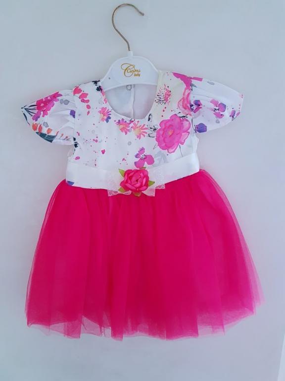 Ryškiai rožinė gėlėta suknelė