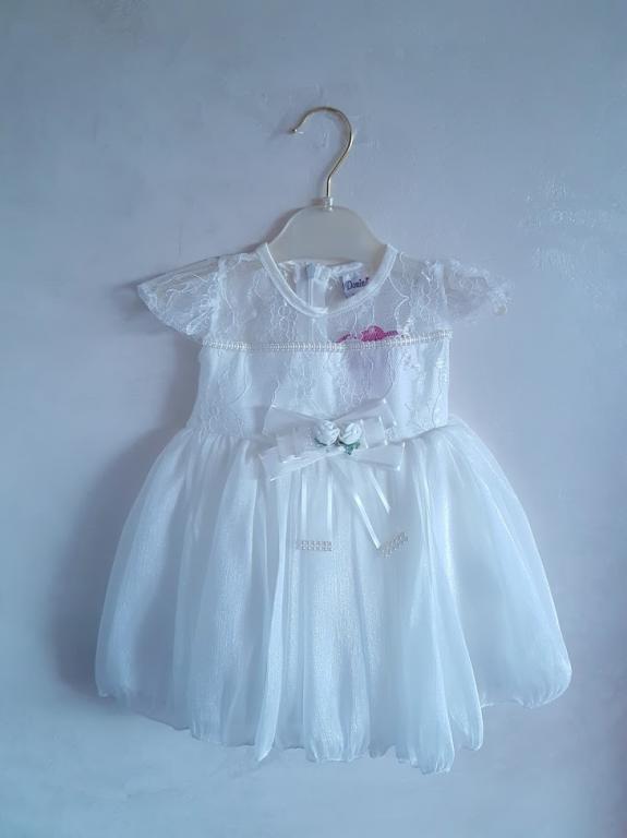Šventinė balta suknelė pačioms mažiausioms