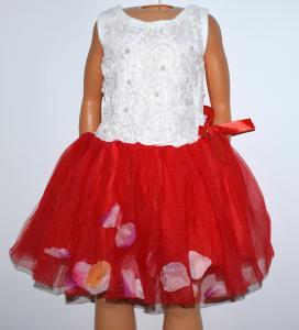 Pūsta raudona tutu suknelė su žiedlapiais