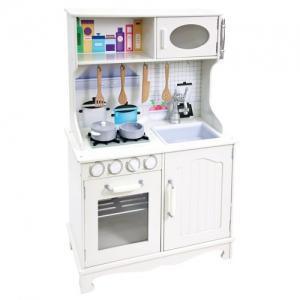 Balta medinė virtuvlė su priedais