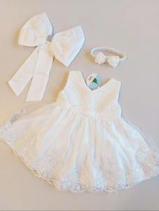 Balta šventinė suknelė su bantuku