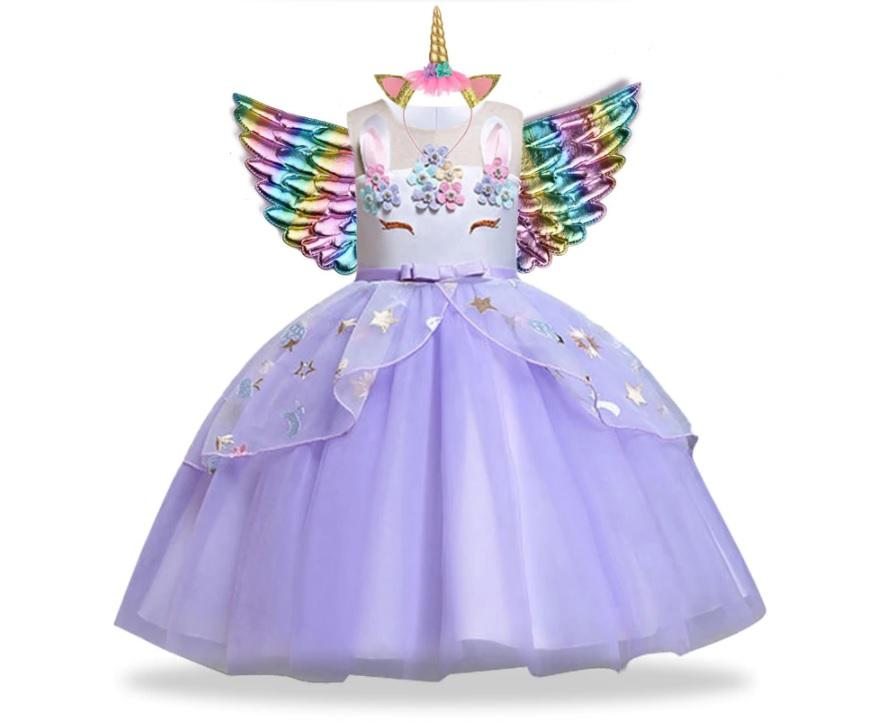 Violetinė vienaragio suknelė su sparnais ir lankeliu