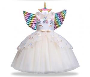 Balta vienaragio suknelė su sparnais ir lankeliu