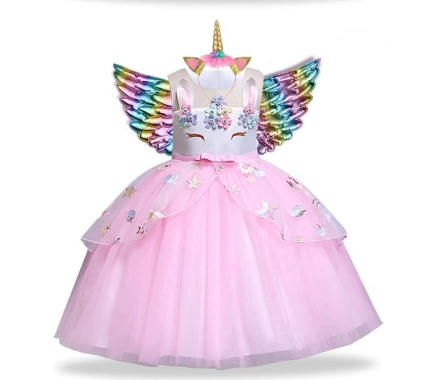 Rožinė vienaragio suknelė su lankeliu ir sparnais