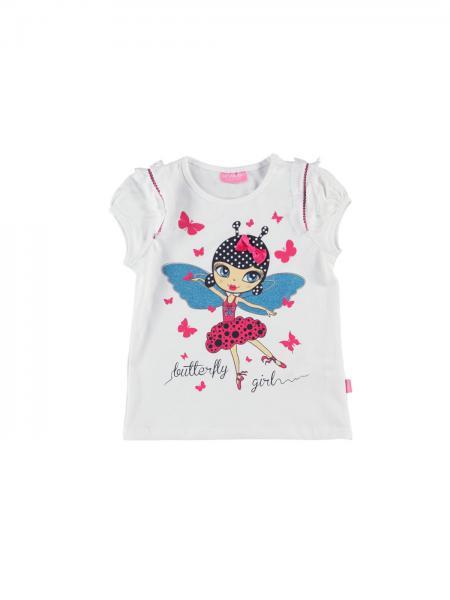Balti marskineliai mergaitei butterfly girl